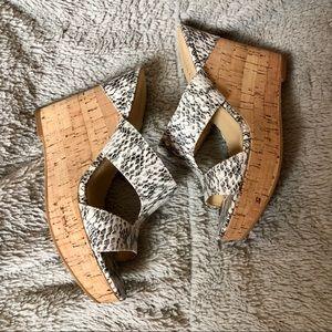 Ivanka Trump Snakeskin Print Leather Cork Wedges